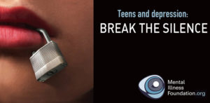 "Image of mouth with padlock on it with text ""Teens and Depression: Break the Silence"""