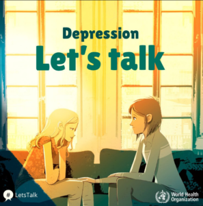 "Cartoon image of two women sitting together with text ""Depression Let's Talk"""