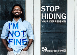 "Image of man wearing T-shirt that says ""I'm Not Fine"""